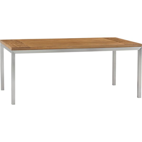 Parsons Teak Top 72x42 Dining Table with Stainless Steel Base