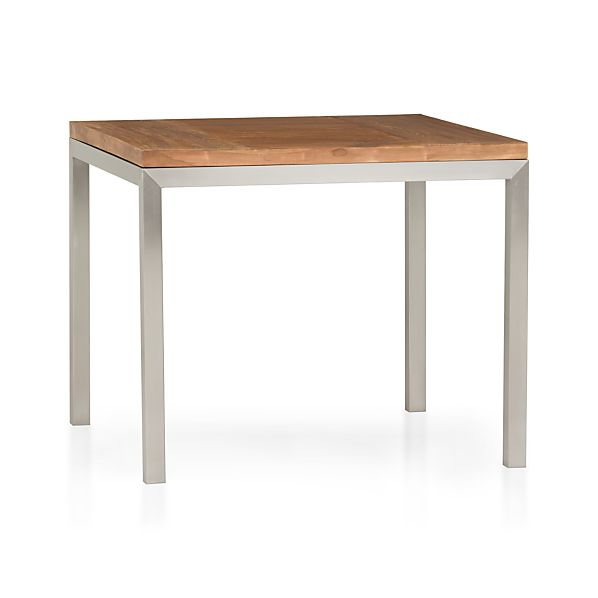 "Teak Top/ Stainless Steel Base 36"" Sq. Parsons Dining Table"