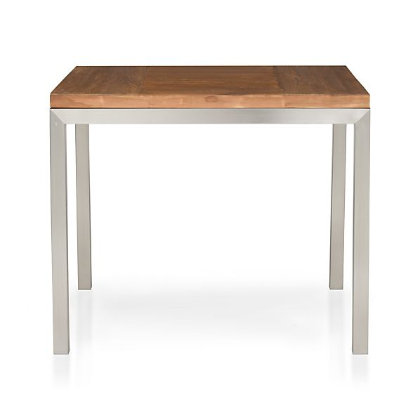"Parsons Teak Top 36"" Sq. Dining Table with Stainless Steel Base"