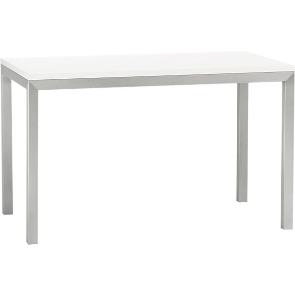 White Top Stainless Steel Base 48x28 Parsons Dining Table  : parsons white top 48x28 dining table with stainless steel base from www.crateandbarrel.com size 598 x 598 jpeg 9kB