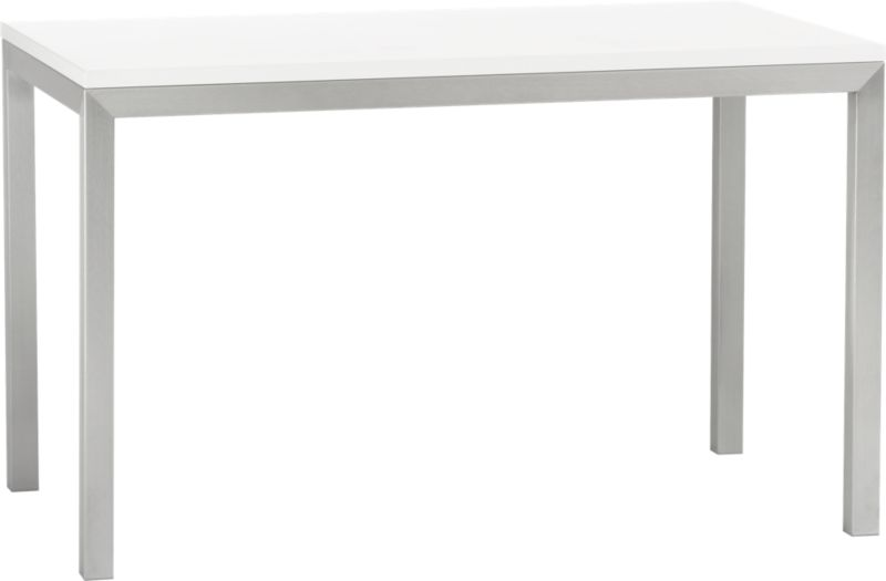 Start with the perfect base. Clean simple lines in four dining sizes are made of stainless steel with a contemporary matte finish and mitered corners. Highly durable powdercoated low-emission engineered wood top is heat-resistant and anti-microbial.<br /><br /><NEWTAG/><ul><li>Stainless steel with brushed finish</li><li>Low-emission engineered wood tabletop with powdercoat finish</li><li>Seats four</li><li>Made in China and USA </li></ul>
