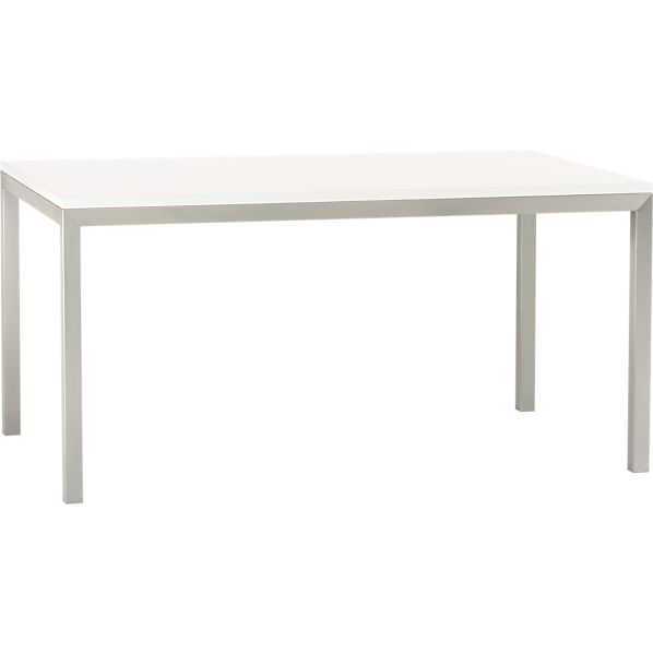 Parsons White Top 72x42 Dining Table with Stainless Steel Base in