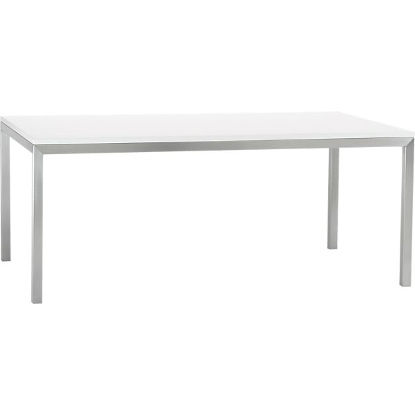 White Top Stainless Steel Base 72x42 Parsons Dining Table  : parsons white top 72x42 dining table with stainless steel base from www.crateandbarrel.com size 598 x 598 jpeg 7kB