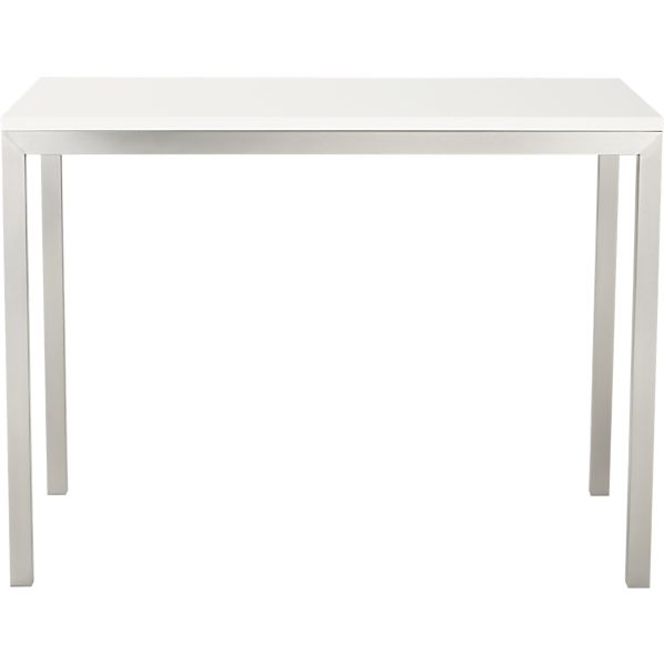 Parsons White Top 48x28 High Dining Table with Stainless Steel Base