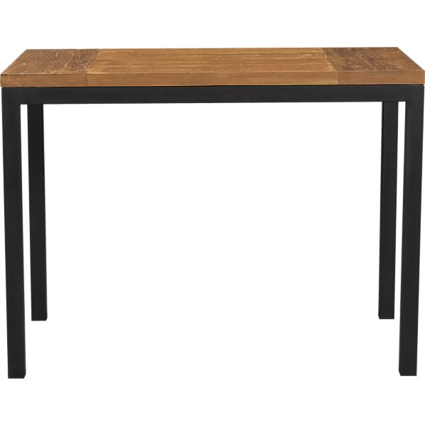 Parsons Teak Top 48x28 High Dining Table with Natural Dark Steel Base