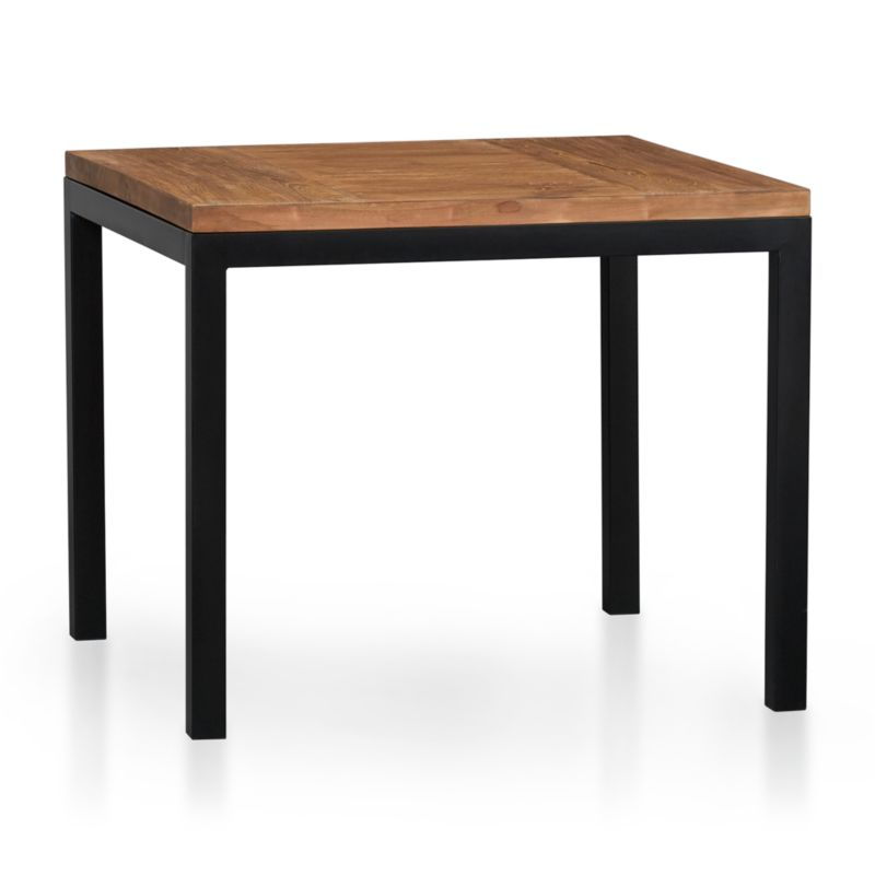Start with a great base. Top it off with an amazing top. Voila—the perfect table. Hot-rolled steel frame supports with clean simple lines, hand-welded and ground at each corner to create a raw, torched millscale finish. Gorgeous wood top is handcrafted from repurposed teak from Southeast Asia with variations in wood grains, texture and color, knots and other naturally occurring characteristics that add to the distinct character. Seats four.<br /><br /><NEWTAG/><ul><li>100% reclaimed, unfinished teak</li><li>Natural finish</li><li>Naturally occurring texture and knots</li><li>Cut and welded natural dark tubular steel with torched millscale finish at corners</li><li>Clear powdercoat finish on base</li><li>Seats four</li><li>Clean with mild soap and water</li><li>Made in Indonesia and China </li></ul>