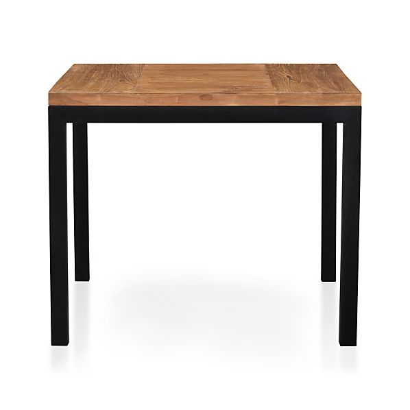 "Parsons Teak Top 36"" Sq. Dining Table with Natural Dark Steel Base"