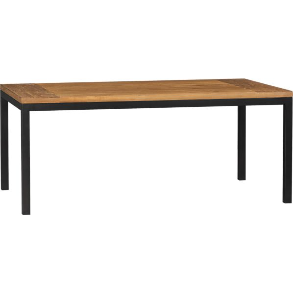Parsons Teak Top 72x42 Dining Table with Natural Dark Steel Base