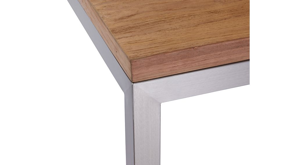 Teak Top/ Stainless Steel Base 72x42 Parsons Dining Table