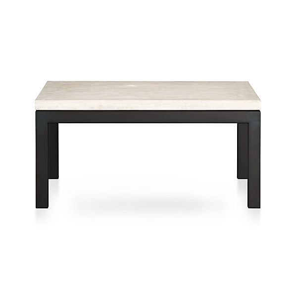 parsons square coffee table with travertine top crate and barrel