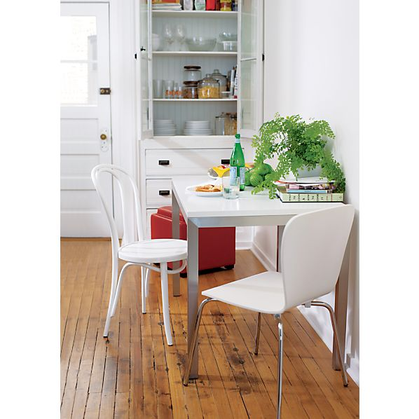 Parsons White Top 48x28 Dining Table with Stainless Steel Base
