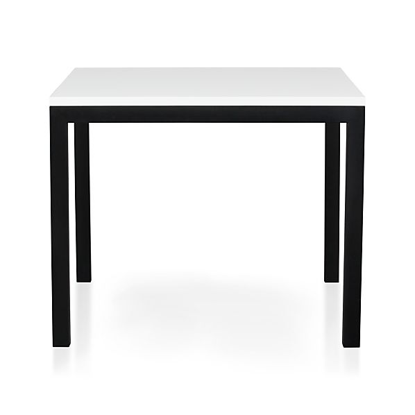 "Parsons White Top 36"" Sq. Dining Table with Natural Dark Steel Base"