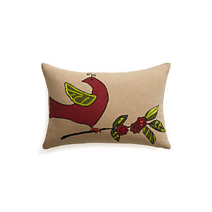 "Partridge 18""x12"" Pillow with Feather-Down Insert"