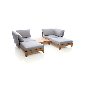 Party 2 Chaise Sectional with Coffee Table