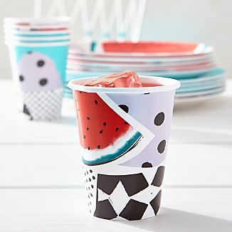 Set of 8 Party Collage Paper Cups