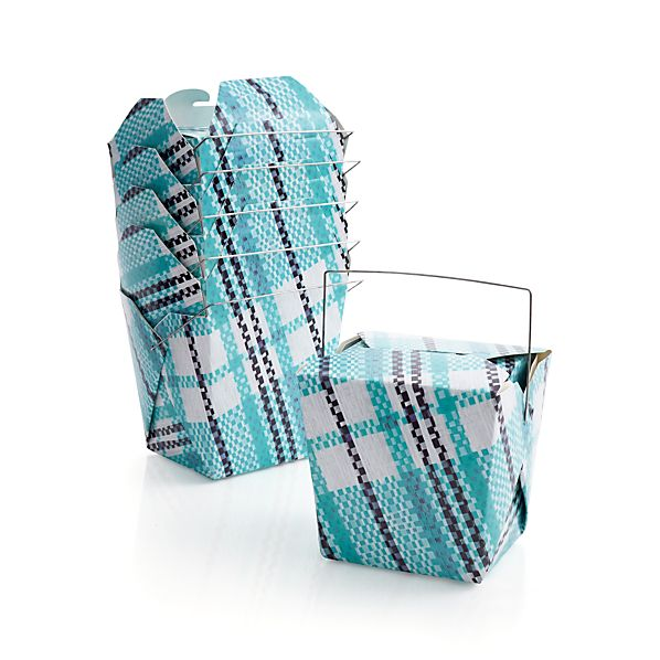 Set of 6 Party Plaid Food Boxes
