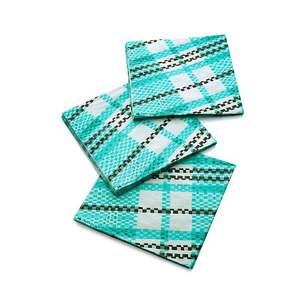 Set of 20 Party Plaid Paper Dinner Napkins