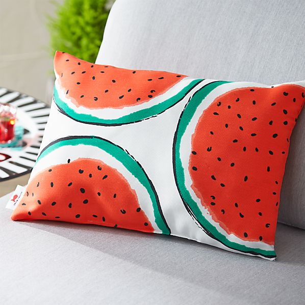 "Party Watermelon 20""x13"" Outdoor Pillow"