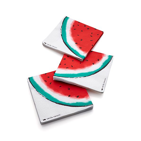 Set of 20 Party Watermelon Paper Beverage Napkins