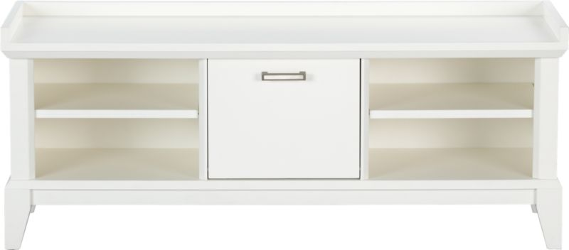 Our architectural Paterson collection is inspired by built-in cabinetry from turn-of-the-century homes. Low-profile bench with elegant tapered legs and white lacquer finish holds hallway essentials in two open cubbies with single adjustable shelves. Center storage bin drops down with a pull of the brushed-nickel handle to tidy gloves, hats and other items out of sight.<br /><br /><NEWTAG/><ul><li>Solid hardwood and low-emission engineered wood</li><li>White lacquer finish</li><li>Two adjustable shelves</li><li>Drop-down storage bin with brushed-nickel pull</li><li>Adjustable leg levelers included</li><li>