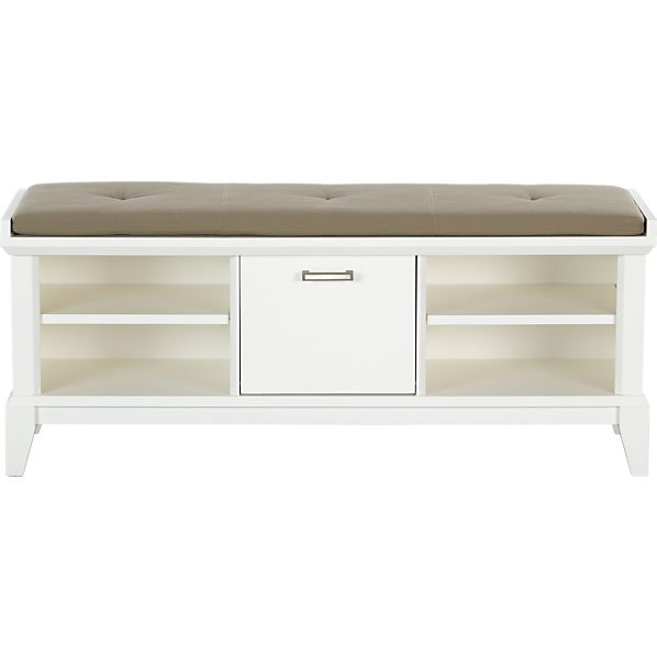 Paterson White Bench with Wheat Cushion