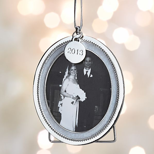 Silver Pearl Frame Ornament with 2013 Charm
