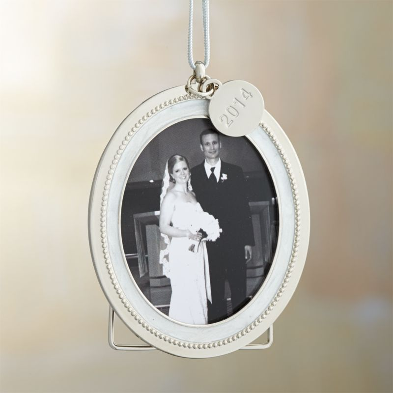 Silver Pearl Frame Ornament with 2014 Charm