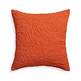 "Pebble Orange 18"" Pillow with Feather-Down Insert"