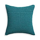 "Pebble Teal Blue 18"" Pillow with Feather-Down Insert"