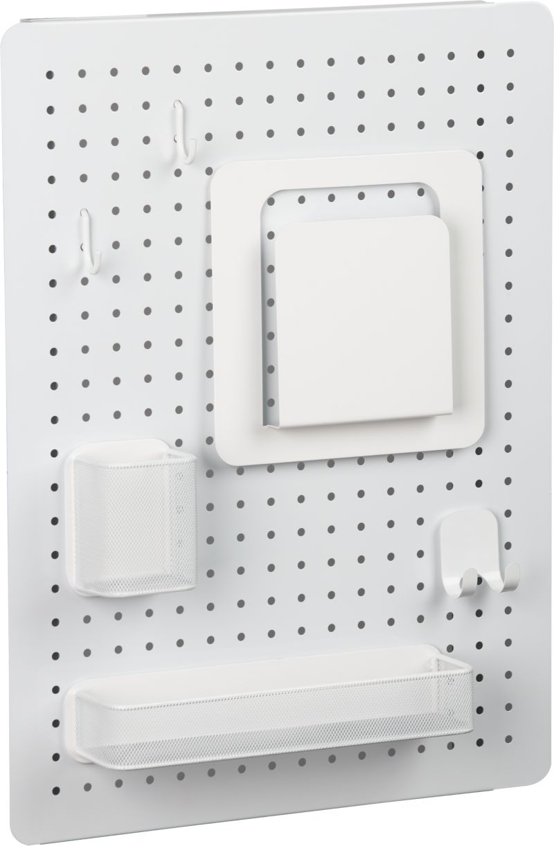Hook it, hang it, have it all in view, all at your fingertips. Modular modern pegboard set lets you customize clutter organization in the kitchen, office, laundry—virtually anywhere. Heavy-duty iron board with white finish comes with a white accessory kit including one double hook, two single hooks, one file pocket, one wire mesh supply bin and one wire mesh pen pot. Board easily mounts horizontally or vertically to ensure all of your tools and gadgets are neatly organized at your ready.<br /><br /><NEWTAG/><ul><li>From three by three® of Seattle</li><li>100% iron pegboard with white powdercoat finish</li><li>Powdercoated stainless steel hooks, anisotropic magnets and wire mesh</li><li>Clean with a dry cloth</li></ul>