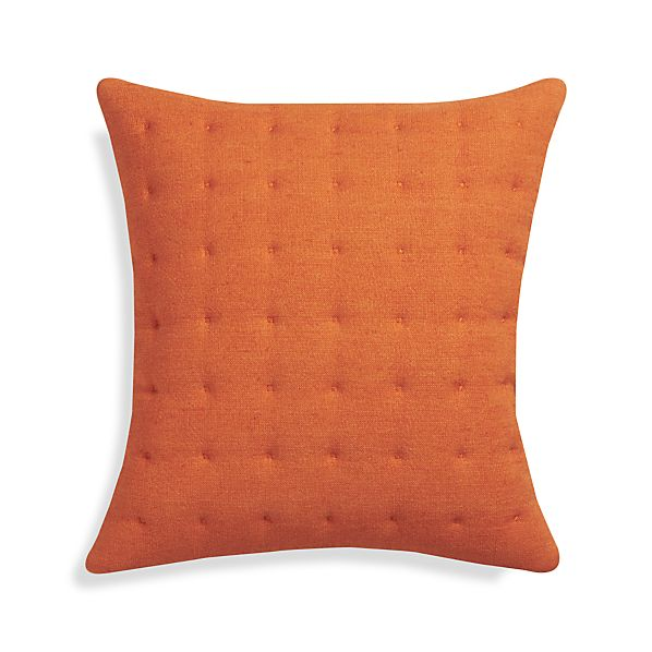 "Pelham Orange 20"" Pillow with Feather Insert"