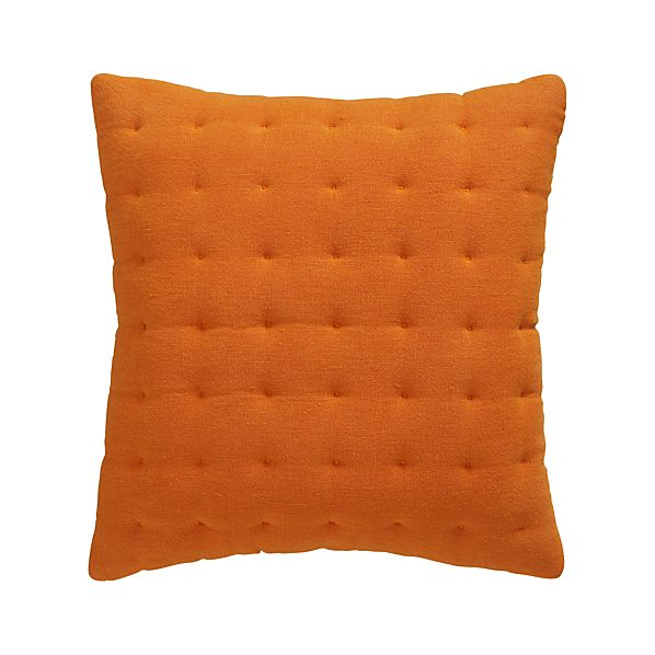 "Pelham Orange 20"" Pillow with Feather-Down Insert"