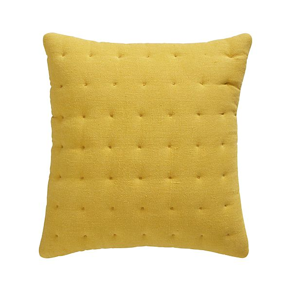 "Pelham Yellow 20"" Pillow with Feather-Down Insert"