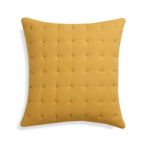 "Pelham Yellow 20"" Pillow with Feather Insert"
