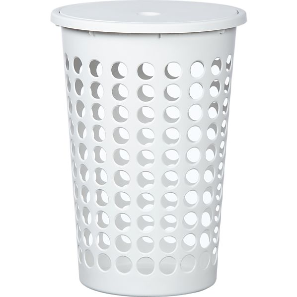 Large White Perforated Laundry Bin with Lid
