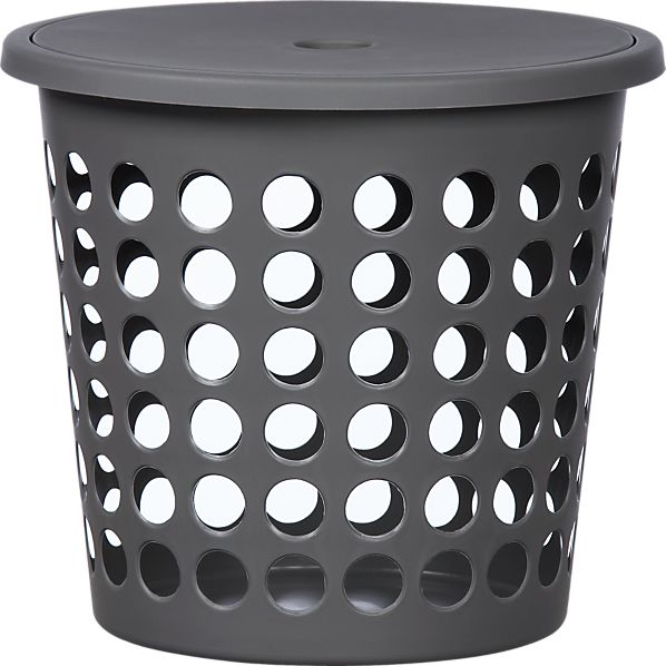 Small Grey Perforated Laundry Bin with Lid