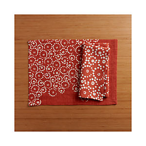 Perla Orange Placemat and Perla Orange Napkin