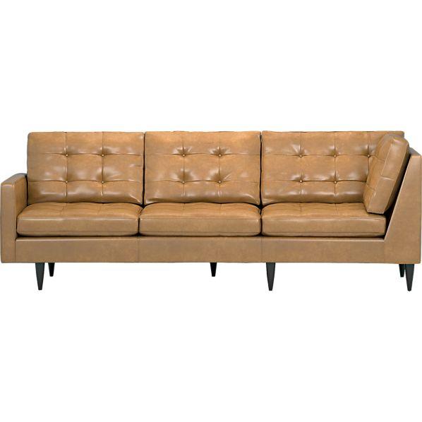 Petrie Leather Sectional Left Arm Corner Sofa
