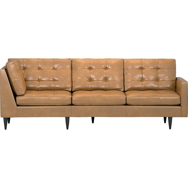 Petrie Leather Sectional Right Arm Corner Sofa