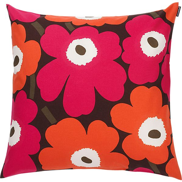 "Marimekko Pieni Unikko Brown and Orange and Pink 20"" Pillow"