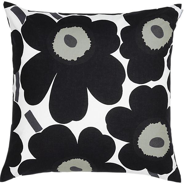 """Marimekko Pieni Unikko Black 20"""" Pillow"""