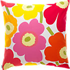 "Marimekko Pieni Unikko Pink and Orange Pillow. 20"" sq."