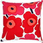 "Marimekko Pieni Unikko Red and White Pillow. 20"" sq."