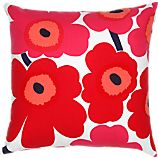 "Marimekko Pieni Unikko Red and White 20"" Pillow"