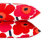 Set of two king marimekko pieni unikko pillowcases.