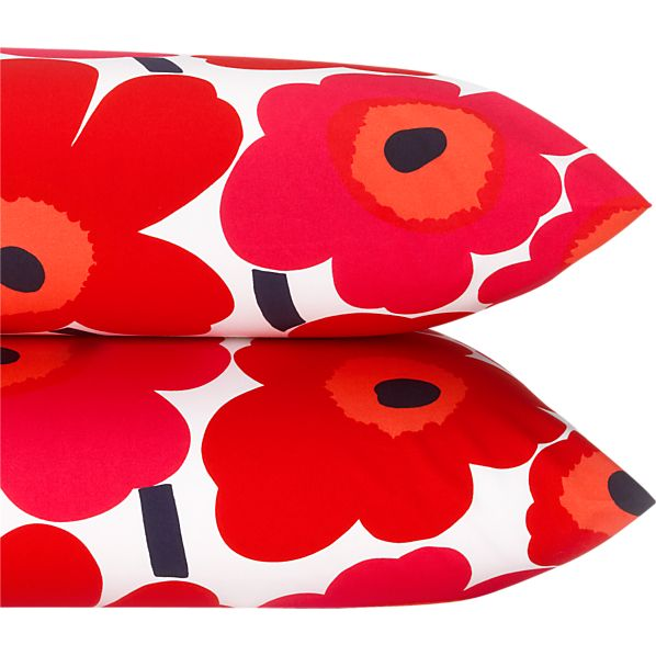 Marimekko Pieni Unikko Red King Pillowcases