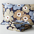 Marimekko Pieni Unikko Dusk Full Sheet Set. Includes one flat sheet, one fitted sheet and two standard pillowcases.