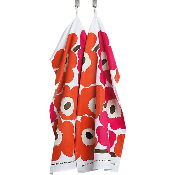 Marimekko Pieno Unikko White and Orange and Pink Dishtowels Set of Two
