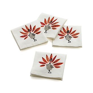 Set of 4 Pilgrim Turkey Cocktail Napkins