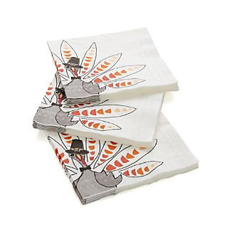 Set of 20 Turkey Pilgrim Dinner Napkins